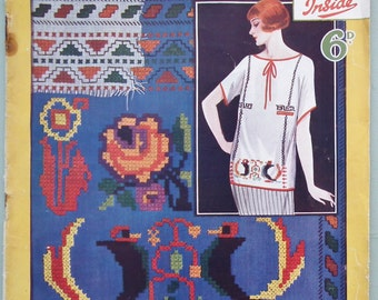 Leach's Cross-Stitch Magazine Sixpenny Needlework Series No. 17 UK Vintage Antique 1920s Embroidery Book Charts Patterns Ladies Fashions