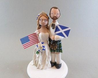Bride & Groom Custom Made Scottish Wedding Cake Topper