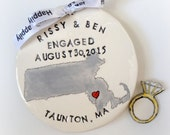 Personalized state map engagement gift ornament handmade pottery by Cathie Carlson
