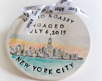 Custom engagement gift portrait ornament from photo handmade pottery by Cathie Carlson