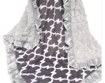 Silver Gray Swirl Quatrefoil Minky Baby Blanket, Gender Neutral Baby Blanket, White and Gray Blanket