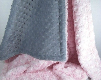Light Pink and Gray Minky Dot Baby Blanket, Charcoal Gray and Pink Minky Dot baby Blanket, Pink Rose Swirl Baby Blanket, Can be Personalized