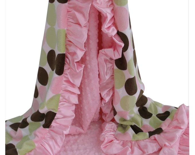 Pink and Brown Retro Dot Minky Baby Blanket, Pink Brown Polka Dot Minky Blanket for Baby Girl