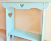 Turquoise Blue Console or Decorative Side Table End Table Nightstand Heart Cutouts