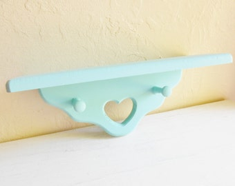 Turquoise Blue Aqua Cottage Style Wood Heart Wall Shelf with Pegs