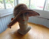 REDUCED Vintage 1920s Brown Brimmed Cloche with Lace and Autumn Decoration
