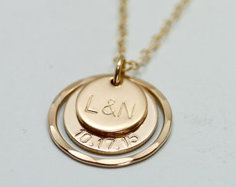 Personalized necklace - gold jewelry - initial jewelry - 2 gold disc necklace - initial + date necklace - gold necklace - engraved necklace