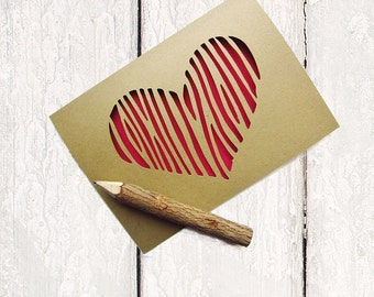 Ready to Ship Valentine Card - Valentine Card Him - Rustic Valentine's Day Card - Red Heart Valentine Card - Woodgrain Paper Heart Card