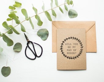 Rustic Man of Honor Card - Will You Be My Man of Honor - Male Bridal Attendant - Man of Honor Proposal Card - Wedding Party Card - Brown