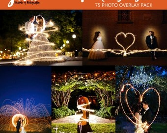 SPARKLING LIGHT Photoshop Overlays, 75 Image pack, wedding photography, long exposure sparklers overlay