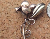 Two Tone Flower Vintage Pin - Vermeil - Sterling Silver/Gold - Antique