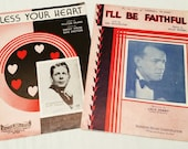 Bless Your Heart Sung by Rudy Vallee, I'll Be Faithful, 1930s Love Songs Antique Sheet Music Set