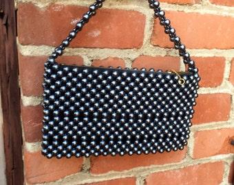 Mod Evening Bag - prom bag - gunmetal - pearl bag - beaded bag - 1960's vintage bag - high-end vintage - Japan - wedding - troppobella