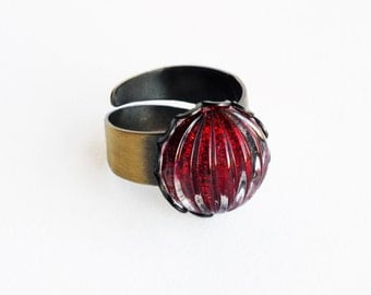 Red Glitter Ring Vintage Glass Ring Antique Brass Nail Polish Jewelry Sparkling Ruby Red Ring Glitter Jewellery Wrap Ring