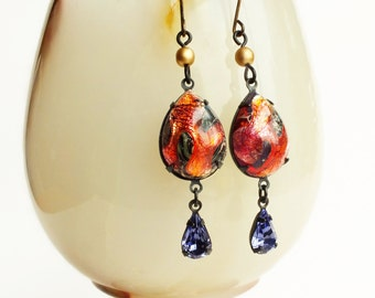 Iridescent Red Glass Dangle Earrings Vintage Red Lampwork Drop Earrings Purple Red Lava Jewelry Volcano Fire Dangles