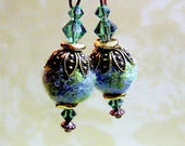 Sparkly Earth Day Earrings with Swarovski and Felted Beads - Needle Felted and Beaded Fiber Art Earrings - Unusual and Unique Jewelry