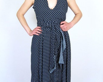 Black and White Polka Dot 70's Day Dress
