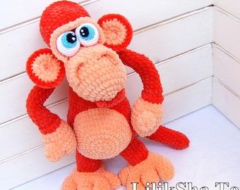 Crochet toy Amigurumi Pattern - Funny Red Monkey.