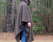Dark Brown Hooded AntiPill Fleece Poncho with Vneck or Open Front Cape