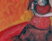 Young woman red figure painting degas dancer style ballet art in red Girl with Piglet giglee  Art Print