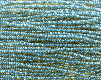 6/0 Transparent Topaz Blue Lined Czech Glass Seed Bead Strand (CW220) SE