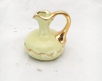 Vintage 1960s gold leaf chartreuse bud vase