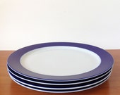 Vintage Thomas Germany Plates, Mid Century Modern Brushed Cobalt Blue, Set of Four Dinner Dishes