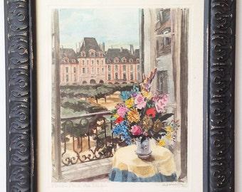 Antique, Vintage French Watercolor Print. Signed G Dardaillon. Paris, Place des Vosges, Cottage Chic, Framed Lithograph
