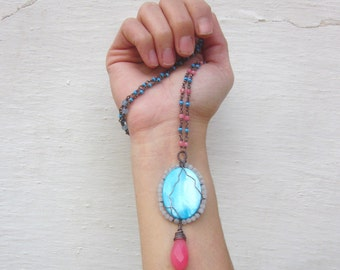 Long beaded necklace, bohemian stone necklace, wire wrapped copper necklace, seed beads & jade hippie necklace, pink blue Boho chic necklace
