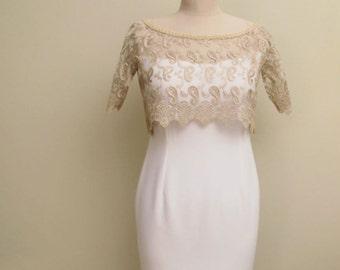 Wedding Bolero Capelet Cape  Jacket  Bridal Gold Champagne Guipure Lace Boleros Capes Shrug Shawl Wrap Cover Up