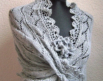 Wedding shawl, wrap for bride, bridal shrug, Blue Grey Babyalpaca bridal shawl lace