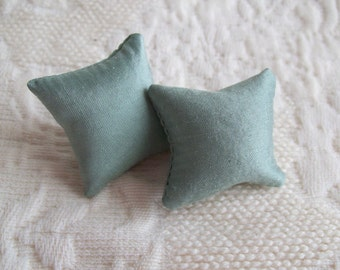 "Green silk pillow pair for dollhouse, 1 1/8"" square, hand made"