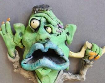 Frankenstein Monster Ceramic Wall Sculpture