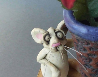 Ceramic White Mouse Sculpture and Vase