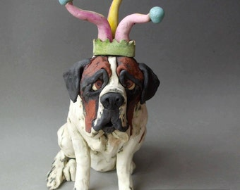 Saint Bernard Jester Dog Whimsical Ceramic Sculpture