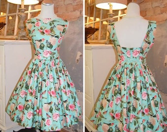 1960s Vintage Style Dress - Audrey Hepburn Dress - Teal - Pink Roses - Birds - Rockabilly - Cotton Dress - Dress Made in USA to your Size
