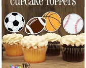 Sports Party - Set of 12 Double Sided Assorted Sports Cupcake Toppers by The Birthday House