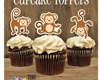 Monkey Birthday Party - Set of 12 Monkey Trio Cupcake Toppers by The Birthday House