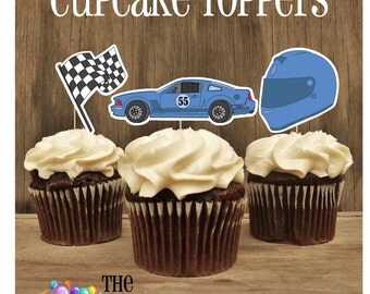 Race Car Party - Set of 12 Assorted Blue Race Car Toppers by The Birthday House