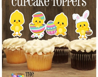 Easter Friends Party - Set of 12 Double Sided Assorted Easter Chick Cupcake Toppers by The Birthday House
