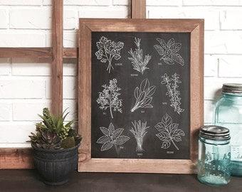 kitchen herb wall art print, botanical kitchen art, chalkboard kitchen art, herb drawing, kitchen print, kitchen decor, herb print