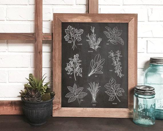 Kitchen Herb Wall Art Print Botanical Kitchen Art Chalkboard