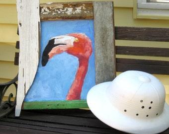 Reclaimed Wood, Flamingo Art, Bird Art, Pink and Blue, Bird Painting, Whimsical Bird, Pink Flamingo, Ocean Art, Florida Art, Free Shipping