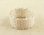 SALE ----- Size 7 Vintage Sterling Wide Chain Link Band Ring