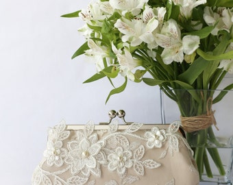 Bridal Clutch with Magnolia Flower Vine Lace in Champagne 8-inches