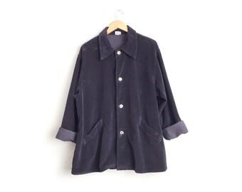 Size Women's 14/16 or Men's M/L // OVERSIZED CORDUROY OVERSHIRT // Navy Blue - Baggy Fit - Lightweight Over-Coat - Vintage '90s.