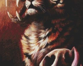 Tiger Cross Stitch, Life and Death and Life By Danielle Trudeau, Cross Stitch Kit, Counted Cross Stitch Kit, DMC Material