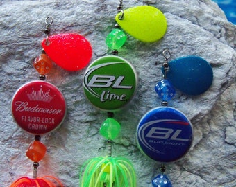 Mens Fishing Lure Gift Recycled Handmade Bottle Cap 3pk Fishing Lure Keepsakes Groomsmen Gift Mens Gift for Him Fathers Day Gift for Husband