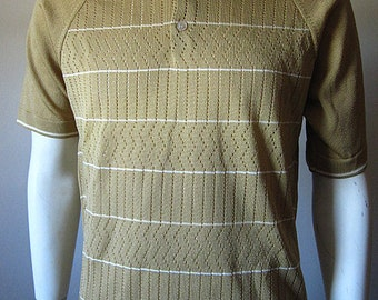 Vintage 70s Van Heusen Coleseta Men's Tan Knit Breathable Polo Size Large