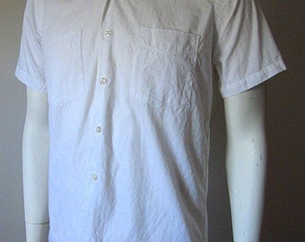 Vintage 60s White Patterned 100%Cotton Button Down Shirt Size Men's